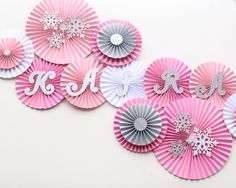 Winter Onederland - Winter Wonderland - Winter Birthday -Onederland Party -Onederland Birthday -Paper Rosettes - Paper Fans -Paper Pinwheels birthday party for girls that love pink!- Well, one of the most popular holidays in the world is almost here Winter Wonderland Decorations, Winter Wonderland Party, Winter Onederland, Snowflake Decorations, Diy Party Decorations, Birthday Decorations, Paper Flower Backdrop, Paper Flowers, Paper Rosettes