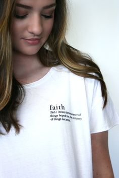 Faith [fāth] (noun) The assurance of things hoped for, the certainty of things not seen. Do you have faith? It's easy to lose sight of your faith when things don't work out the way we hope for, but this tee is the perfect reminder!  Define yourself in this adorable Alternative Rocker Tee. Dress it up or dress it down; this tee is sure to be your new favorite! If you are looking for a soft, stylish fit, this is it.