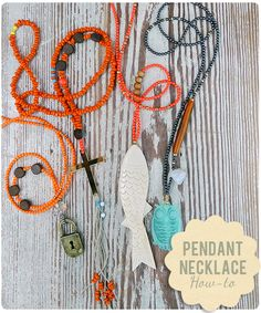 Pendant Necklace How-To, with a nice way to crimp a necklace without a clasp.
