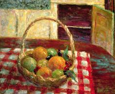 Basket of Fruits on a Table by Pierre Bonnard (France)