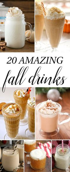 20 Amazing Fall Drinks - apple cider, pumpkin spice, lattes, frappuccinos & more. Smoothie Drinks, Smoothie Recipes, Smoothies, Drink Recipes, Non Alcoholic Drinks, Beverages, Drinks Alcohol, Winter Drinks, Fall Dinner
