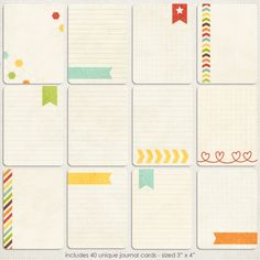 Sweet Shoppe Designs::Elements::Journaling Elements::Life's Little Helpers {Brights} Journal Cards by Zoe Pearn