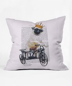 Another great find on #zulily! Pug on Bicycle Throw Pillow #zulilyfinds