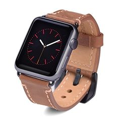Apple Watch Band, 42mm Vintage Crazy Horse Genuine Leather iWatch Band Strap Replacement Wristband With Black Secure Metal Clasp Fit For All Apple Watch Sports Edition Brown * Check this awesome product by going to the link at the image.