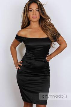 Sexy Dress Black Satin Off Shoulder Solid