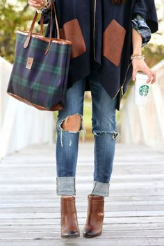 Tartan plaid. Ripped jeans. Ankle booties. Coffee.