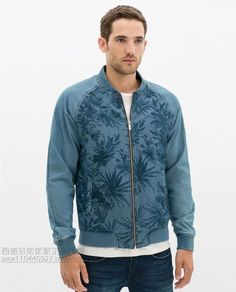 ZARA Man BNWT Aquamarine Blue Cotton Printed Denim Jacket Collared Large 6917360