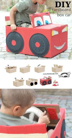 Cardboard Car Toy - Diy Baby - Cardboard car toy Informations About Pappe Auto Spielzeug – Diy Baby Pin You can - Disney Cars Birthday, Cars Birthday Parties, Cool Diy, Fun Diy, Diy For Kids, Crafts For Kids, Easy Crafts, Cardboard Car, Cardboard Playhouse
