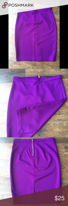 The Limited Purple Pencil Skirt This pencil skirt from Limited has the most vibrant color purple. A gold exposed back zipper adds a fun touch. This skirt hits at the knee. Never worn, new condition. The Limited Skirts Pencil