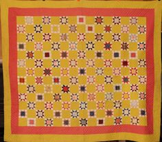 Antique Pieced Evening Star Quilt, Yellow and Pink