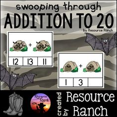 "These bats in caves addition clip cards are a fun way to practice or review addition facts to 20 and perfect for an independent October math center. There are 100 cards with color graphics and the set is repeated in line art. *This set is also included in the ""Addition Clip Cards Through the Year"