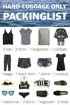missgetaway-carryon-packing-list #backpackingpackinglist Holiday Packing Lists, Packing List For Travel, Travel Tips, Luggage Packing, Travel Luggage, Travel Hacks, Packing Ideas, Beach Travel, Beach Vacation Packing