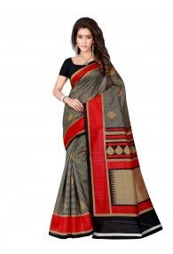 Shonaya Black & Beige Color Bhagalpuri Art Silk Printed Saree With Unstitched Blouse Piece