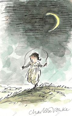 Charlotte Voake - girl jumping rope in the moonlight
