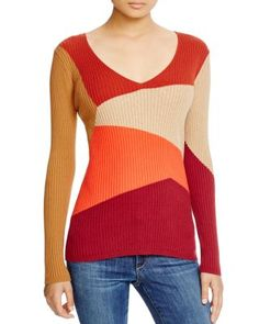 VINCE CAMUTO Color Block Ribbed Sweater | Bloomingdale's