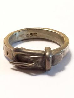 Vintage Sterling Silver Belt Buckle Ring