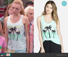 Emma's polka dot and palm tree graphic tank top on Bunk'd.  Outfit Details: http://wornontv.net/50835/ #Bunkd