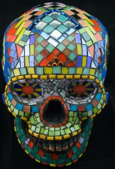 Mosaic Sugar Skull Dia de los Muertos Stained Glass by Jiveworks