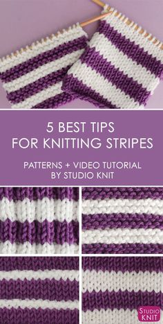 You are going to love these 5 Quick Tips for Knitting Stripes! Looking at the easiest ways to create horizontal stripes knitted flat on straight knitting needles with really simple knit and purl stitch patterns with Studio Knit. #studioknit #knitting #stripes #knitstripes via @StudioKnit #knittingtip #knittingneedles