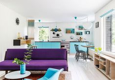 Turquoise and purple interior in Danish summer cottage from the sixties. Vejby Strand, Denmark [1240 × 860]