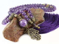 Amethyst Mala Beads Amethyst Necklace Yoga by goodmedicinegemstone