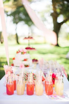 Cute drinks at a princess party