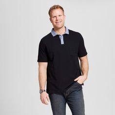Men's Big Club Polo Shirt Black 3XB - Merona, Shirts & Tops
