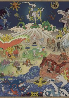 Legendary Gathering... <---- woah. Giratina is at the bottom, hiding from Arceus.