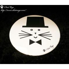 """Miroir de poche, miroir de sac, chat, ChatMage, mixte, """"Monsieur ChatMage"""", Pocket Mirror, Bag Mirror, cat, mixed, """"Mr. ChatMage"""""""