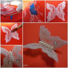 Make your own homemade lace crafts to your home with practical suggestions that help you to turn your decoration ideas into reality. Butterfly Project, Crochet Butterfly, Butterfly Crafts, Butterfly Art, Borboleta Diy, Borboleta Crochet, Hobbies And Crafts, Crafts To Make, Easy Crafts