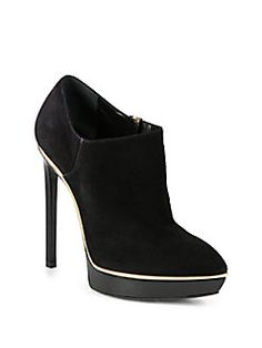 Saint Laurent - Janis Suede and Metallic Leather Platform Ankle Boots