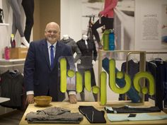 Walter Lamothe, president of retail and chief operating officer of Reitmans, with a mockup of the new Hyba active wear store at company headquarters in Montreal, August 26, 2015.