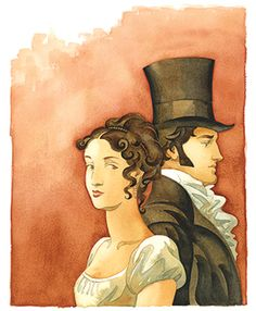 Could be Eilzabeth Bennet and Fitzwilliam Darcy for Pride & Prejudice by Jane Austen . . . . I think it is.