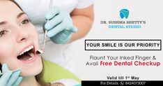 That's Really Good & we are so Proud of you. Here we Bringing Up the Special Offer for You. 👉Flaunt Your Inked Finger & Avail Free Dental Checkup at Dr Sushma Shetty's Dental Studio👈 For Details : 84240 73007 Free Dental, Right To Vote, Makeup Academy, Physical Therapist, Proud Of You, Medical Center, Plastic Surgery, Ayurveda, Your Smile