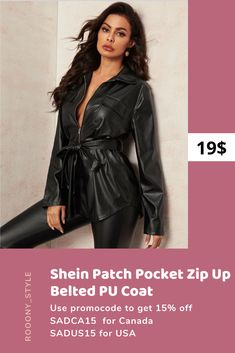 Buy Shein woman Patch Pocket Zip Up Belted PU leather black Coat👍 ... You can use promo code for 15% off