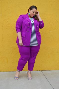 Look of Plus Size Royal Purple Suit – Estrella Fashion Report Plus Size Suits, Plus Size Women, Brother In Law Gift, Striped Sandals, Purple Suits, Purple Jacket, Stretch Fabric, What To Wear, Personal Style