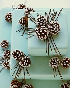 Winter wedding cake, but white with the pinecones - Decorating With Pinecones