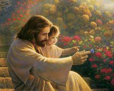 Precious in his sight, pintura de Greg Olsen, en la que se representa a Jesús en un jardín con un niño. #ImagenesJesus