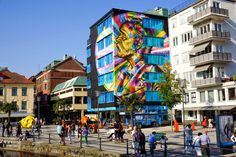 Street Art by Eduardo Kobra in Borås, Sweden. Kobra traveled to Sweden to the No Limits to paint a mural in the city of Boras, Sweden. Kobra left Brazil on 29 August, accompanied by three artists o...