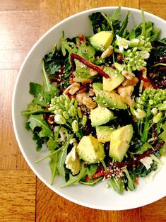Lunch: Kale and Arugula Salad With Pretty Flowering Broccolini, Avocado, Beets, and Hemp Seeds