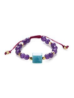 Alanna Bess Jewelry Peach Moonstone & Druzy Macramé Bracelet