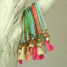 Colored bracelets with tassels www.atelierbalila.nl