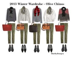Winter Wardrobe - Olive Chinos by bluehydrangea on Polyvore featuring Zara, Line, J.Crew, Madewell, Magnanni, 3.1 Phillip Lim, BeckSöndergaard, SILENT by Damir Doma and Lieke Van Opstal