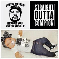 ETSY $13.99 #milknwine #milknwinenursery # icecube #nwa #straightouttacompton #eazye #hiphop #rap #illustration #graphicdesign #clothing #sale #babies #onesie #tshirt #drdre
