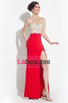 2015 Scoop Prom Dresses Sheath With Beading And Slit Chiffon USD 159.99 LPDQ76BST - Labeautes.com