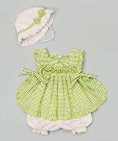 Look at this Green & White Gingham Swing Top Set - Infant & Toddler on #zulily today!