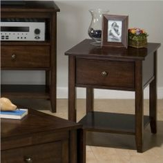 Jofran Newport End Table Handsome end table with ample storage. Made of solid Asian hardwood with cherry veneers. Rich Newport Cherry finish. Drawer and lower shelf for storage or display. Dimensions: 20W x 22D x 24H inches.  #Jofran #Furniture