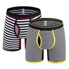 Boxer Men Underwear Men Boxers FRONT OPENING Boxer Cotton Shorts Striped Underwear Male Underpants Boxer