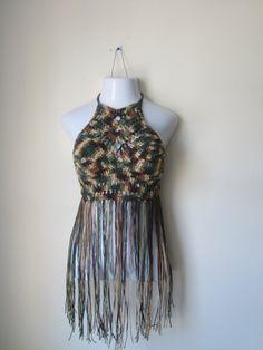 FESTIVAL  HALTER TOP crochet Fringe top  by Elegantcrochets, $49.50