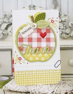 Teacher Thanks Card by Melissa Phillips for Papertrey Ink (April Teacher Appreciation Cards, Teacher Thank You Cards, Teacher Gifts, Scrapbooking, Scrapbook Cards, Thanks Card, Cricut Cards, Cards For Friends, Paper Cards